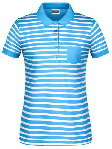 Damen Poloshirt Striped 8029-Blau-L
