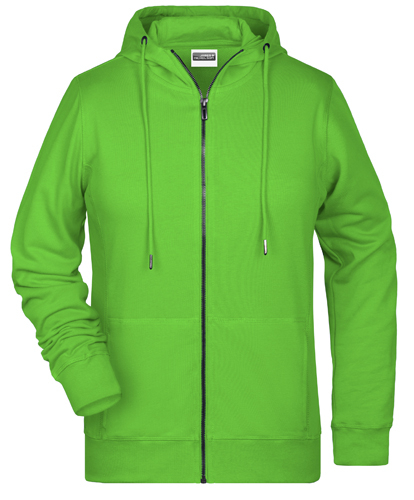 Frauen Zip Hoody-Grün-XL