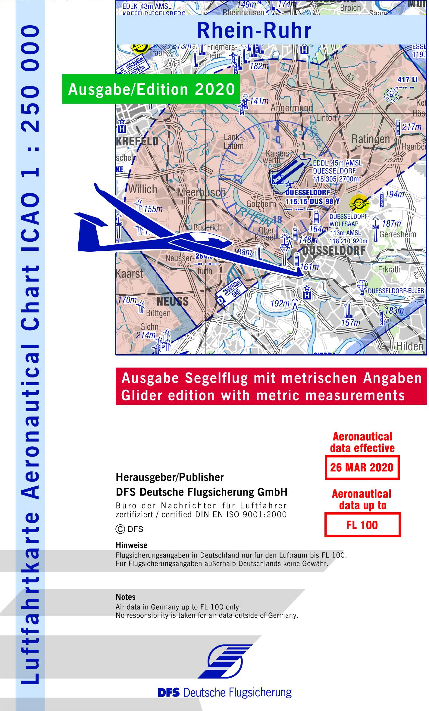 ICAO-Segelflugkarte Rhein-Ruhr 2021 Lieferbar ab KW 13