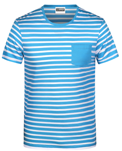 Herren T-Shirt Striped 8028-Marine-XXL
